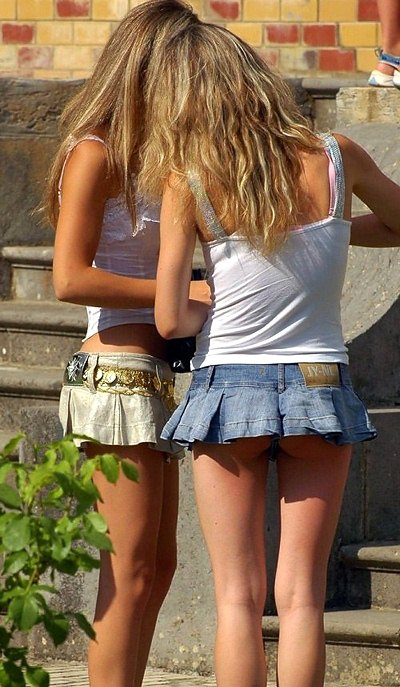 Beautiful girls sexy shorts and seductive asses